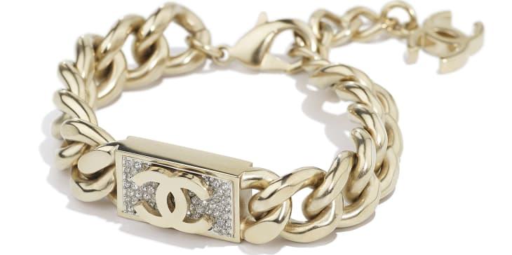 image 2 - Bracelet - Metal & Diamantés - Gold & Crystal