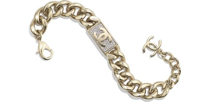 image 1 - Bracelet - Metal & Diamantés - Gold & Crystal