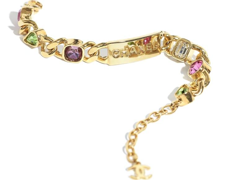 image 2 - Bracelete - Metal & Strass - Dourado, Cristal, Rosa, Roxo & Verde