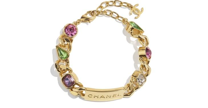 image 1 - Bracelete - Metal & Strass - Dourado, Cristal, Rosa, Roxo & Verde