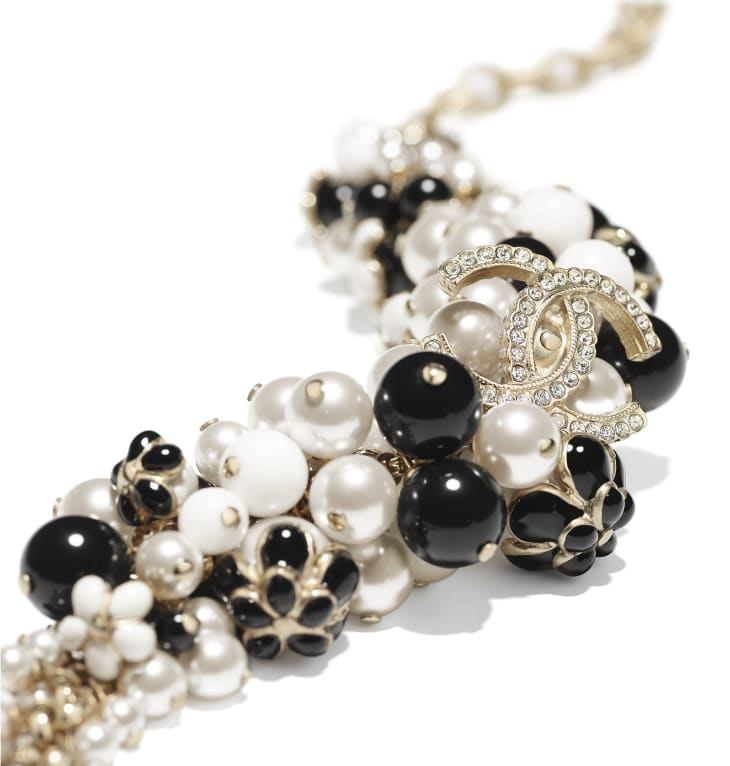 image 2 - Bracelet - Metal, Glass Pearls, Strass & Resin - Gold, Pearly White, Crystal, Black & White