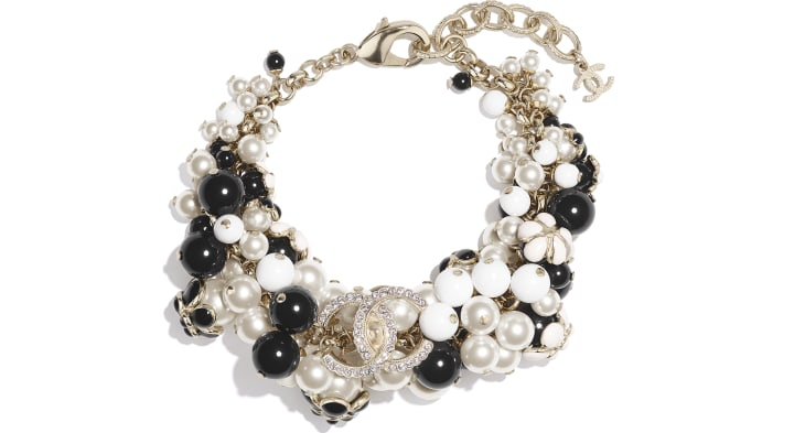 image 1 - Bracelet - Metal, Glass Pearls, Strass & Resin - Gold, Pearly White, Crystal, Black & White