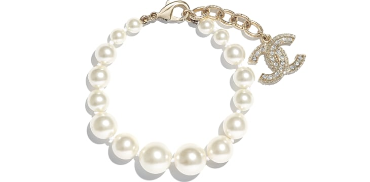 image 1 - Bracelet - Metal, Glass Pearls, Resin & Strass - Gold, Pearly White & Crystal