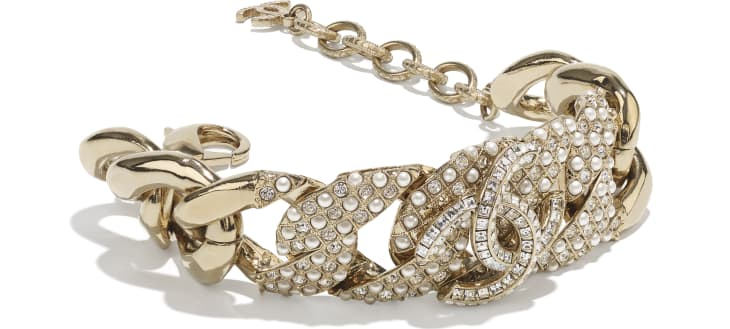 image 2 - Bracelet - Metal, Glass Pearls & Strass - Gold, Pearly White & Crystal