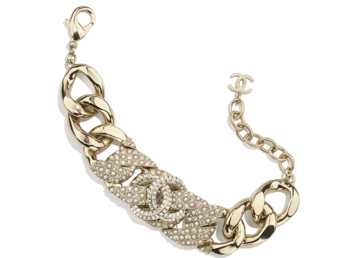 image 1 - Bracelet - Metal, Glass Pearls & Strass - Gold, Pearly White & Crystal
