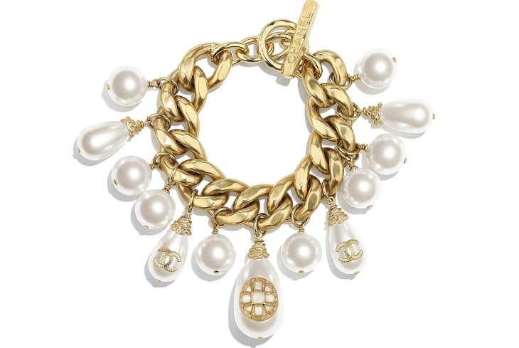 image 1 - Bracelet - Metal, Glass Pearls, Imitation Pearls & Resin - Gold & Pearly White