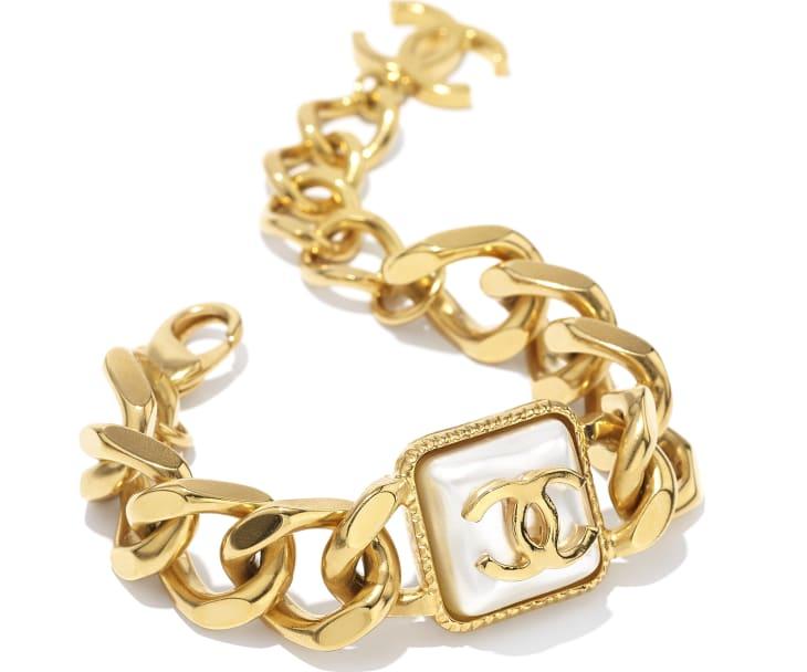 image 2 - Bracelet - Metal & Resin - Gold & Pearly White