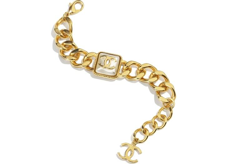 image 1 - Bracelet - Metal & Resin - Gold & Pearly White