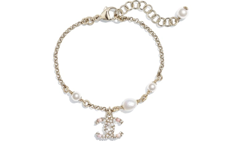 image 1 - Bracelet - Metal, Cultured Freshwater Pearls, Glass Pearls & Strass - Gold, Pearly White, Pink & Crystal