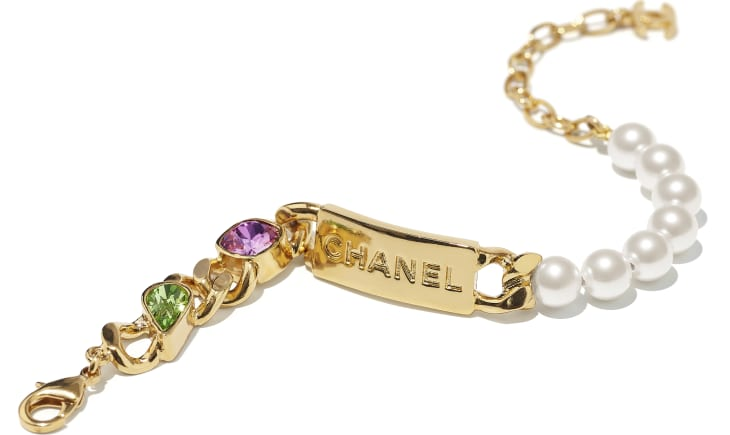 image 2 - Bracelet - Metal, Glass Pearls & Diamantés - Gold, Pearly White, Purple & Green