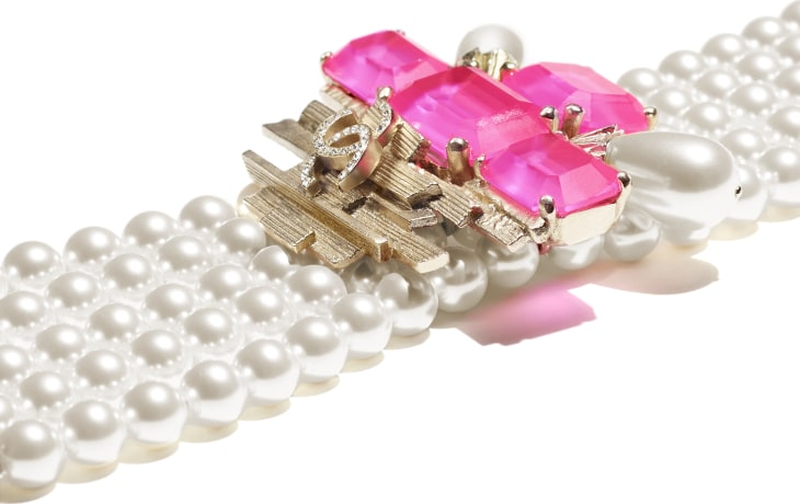image 2 - Bracelet - Metal, Glass Pearls, Imitation Pearls & Strass - Gold, Pink & Pearly White