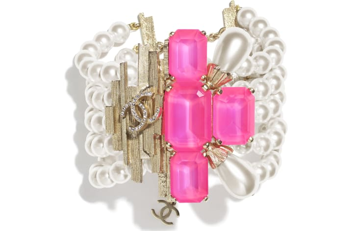 image 1 - Bracelet - Metal, Glass Pearls, Imitation Pearls & Strass - Gold, Pink & Pearly White