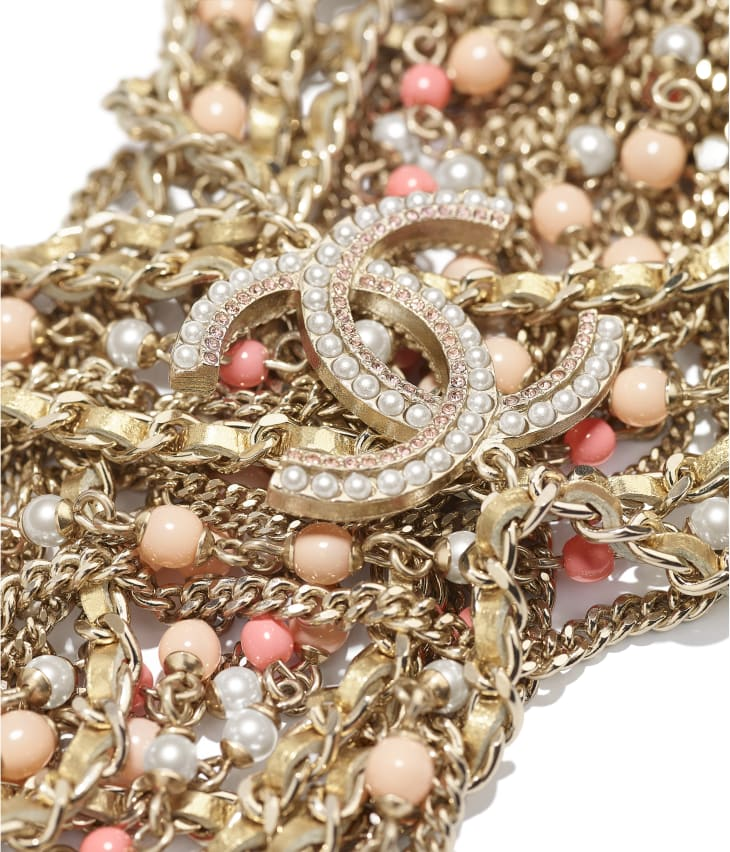 image 2 - Bracelete - Metal, Couro de Cordeiro, Pérolas de Vidro & Strass - Dourado, Branco Perolado, Rosa e Cristal
