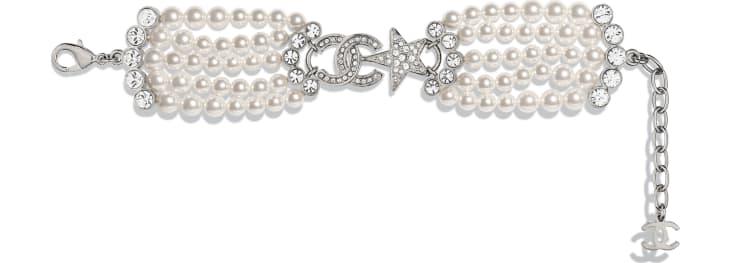 image 1 - Bracelet - Métal, perles de verre & strass - Argenté, blanc nacré & cristal