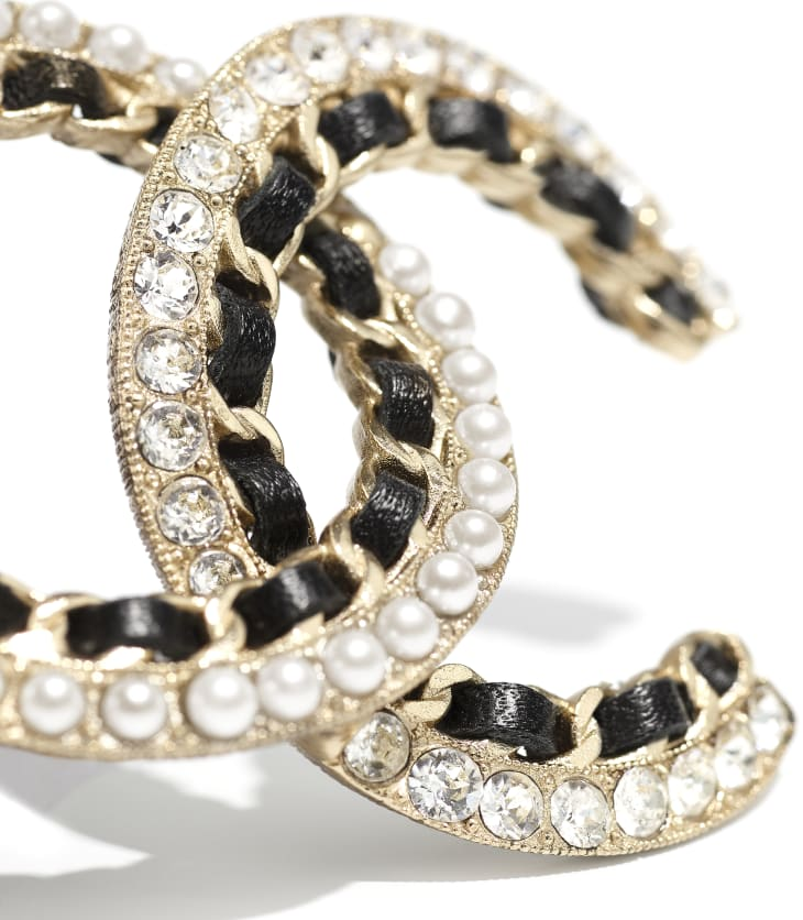 image 2 - Brooch - Metal, Calfskin, Glass Pearls & Strass - Gold, Black, Pearly White & Crystal