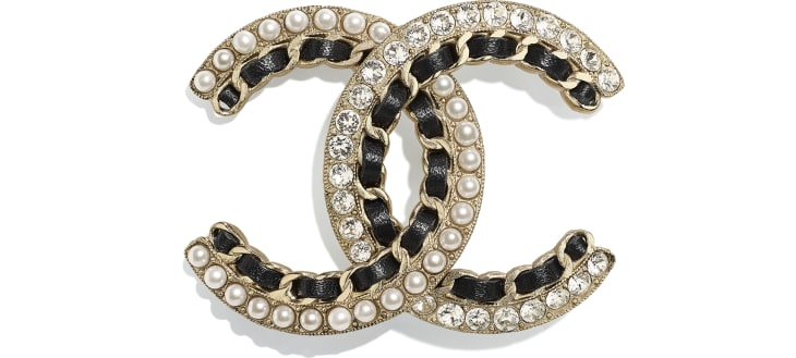 image 1 - Brooch - Metal, Calfskin, Glass Pearls & Strass - Gold, Black, Pearly White & Crystal