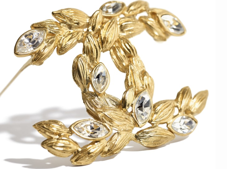 image 2 - Brooch - Metal & Strass - Gold & Crystal