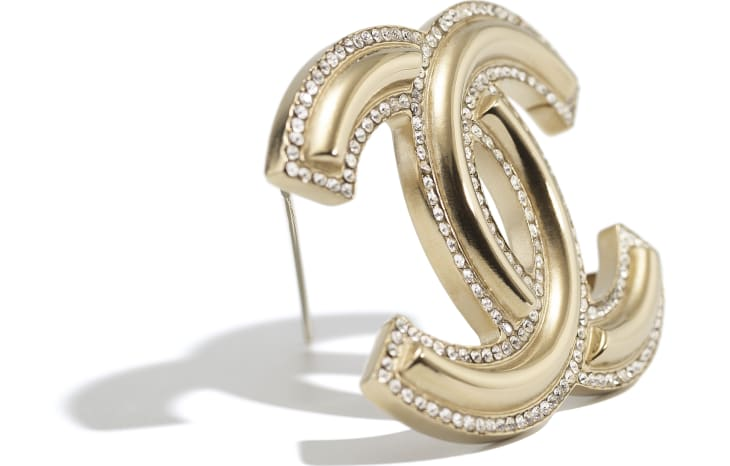 image 2 - Brooch - Metal & Diamantés - Gold & Crystal