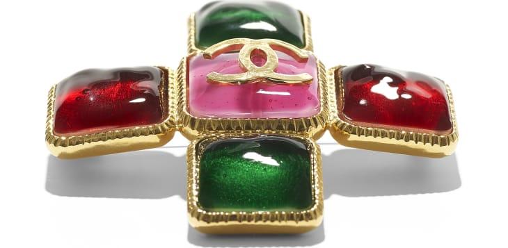 image 2 - Brooch - Metal & Resin - Gold, Green, Burgundy & Pink