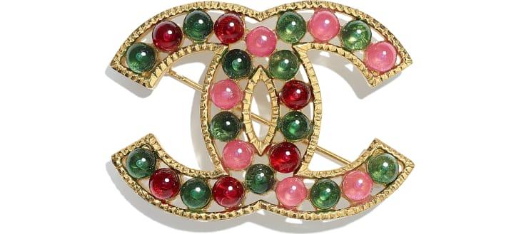 image 1 - Brooch - Metal & Resin - Gold, Green, Burgundy & Pink
