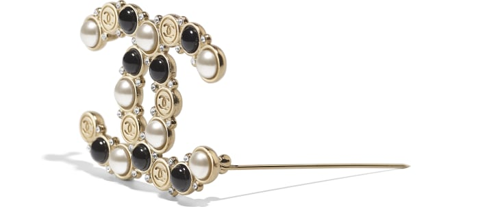 image 2 - Brooch - Metal, Glass Pearls, Imitation Pearls & Diamanté - Gold, Pearly White, Black & Crystal
