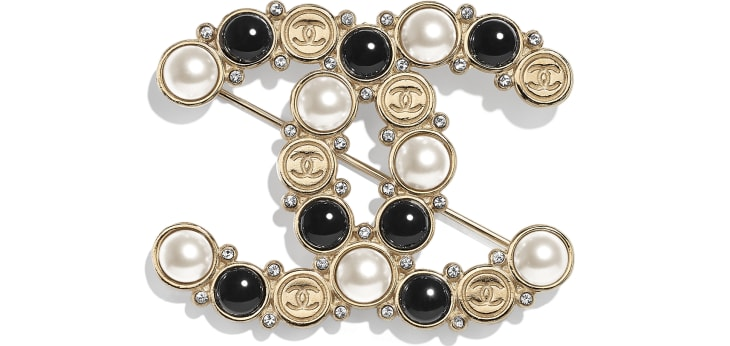 image 1 - Brooch - Metal, Glass Pearls, Imitation Pearls & Diamanté - Gold, Pearly White, Black & Crystal