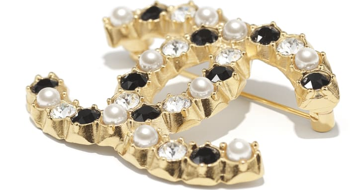 image 2 - Brooch - Metal, Glass Pearls & Diamantés - Gold, Pearly White, Black & Crystal