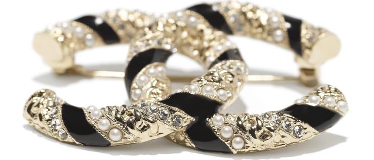 image 2 - Broche - Métal, perles de verre & strass - Doré, blanc nacré, noir & cristal