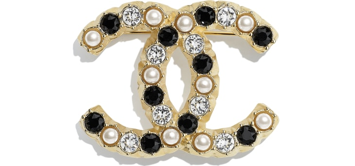 image 1 - Brooch - Metal, Glass Pearls & Diamantés - Gold, Pearly White, Black & Crystal