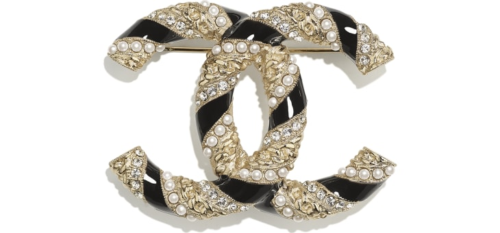 image 1 - Brooch - Metal, Glass Pearls & Strass - Gold, Pearly White, Black & Crystal