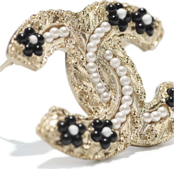 image 2 - Brooch - Metal, Glass Pearls & Resin - Gold, Pearly White & Black