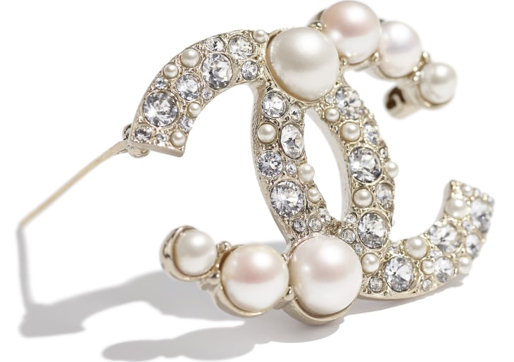 image 2 - Brooch - Metal, Cultured Freshwater Pearls, Glass Pearls & Strass - Gold, Pearly White & Crystal