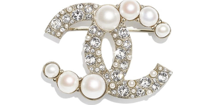 image 1 - Brooch - Metal, Cultured Freshwater Pearls, Glass Pearls & Strass - Gold, Pearly White & Crystal