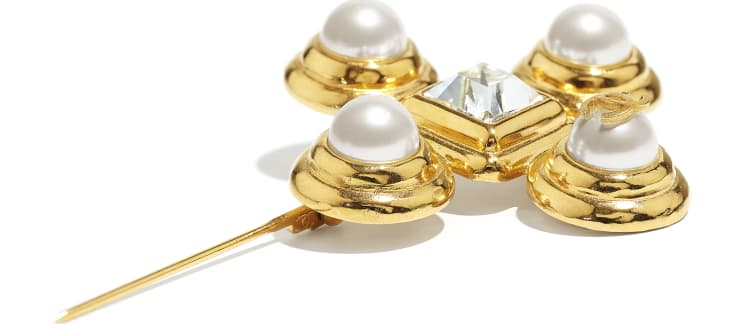 image 2 - Brooch - Metal, Glass Pearls & Diamantés - Gold, Pearly White & Crystal