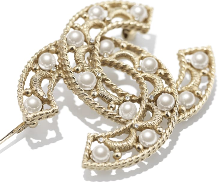 image 2 - Brooch - Metal, Glass Pearls & Strass - Gold, Pearly White & Crystal