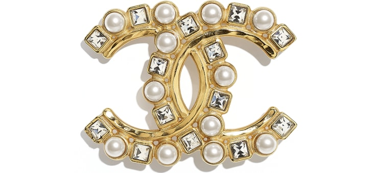 image 1 - Brooch - Metal, Glass Pearls & Diamantés - Gold, Pearly White & Crystal