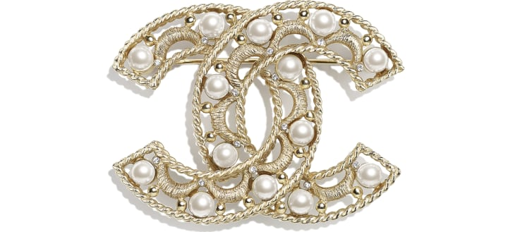image 1 - Brooch - Metal, Glass Pearls & Strass - Gold, Pearly White & Crystal
