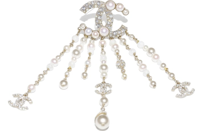 image 2 - Brooch - Metal, Natural Stones, Cultured Freshwater Pearls, Glass Pearls & Strass - Gold, Pearly White & Crystal