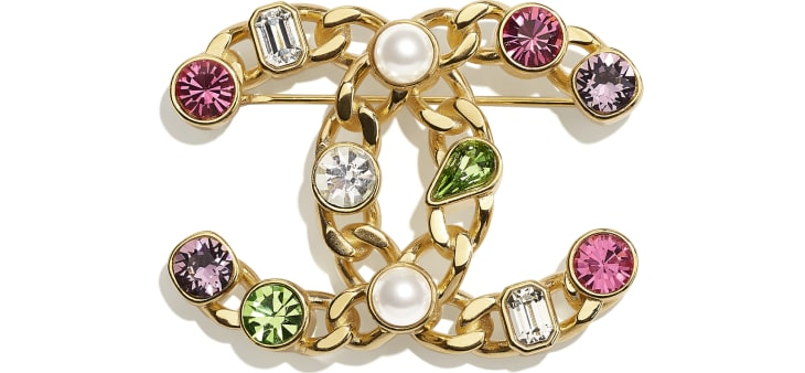 image 1 - Brooch - Metal, Glass Pearls & Strass - Gold, Pearly White, Crystal, Purple & Green