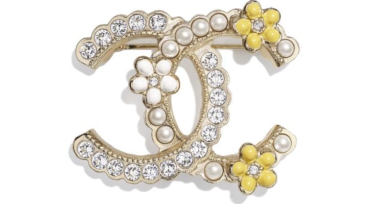image 1 - Broche - Metal, Pérolas De Vidro, Strass & Resina - Dourado, Branco Perolado, Cristal & Amarelo