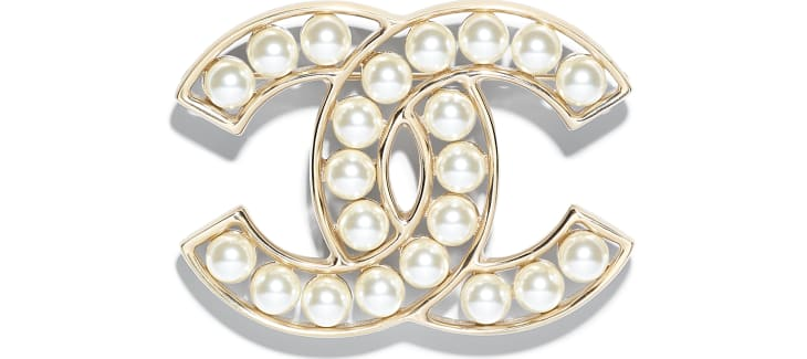 image 1 - Brooch - Metal & Glass Pearls - Gold & Pearly White