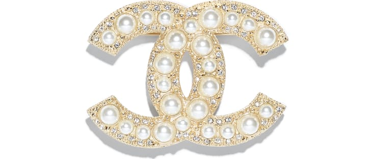 image 1 - Brooch - Metal, Strass & Resin - Gold & Pearly White