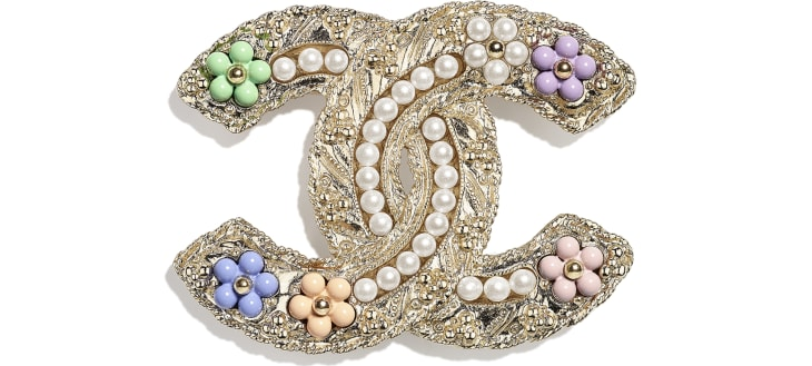 image 1 - Brooch - Metal, Glass Pearls & Resin - Gold, Pearly White & Multicolor