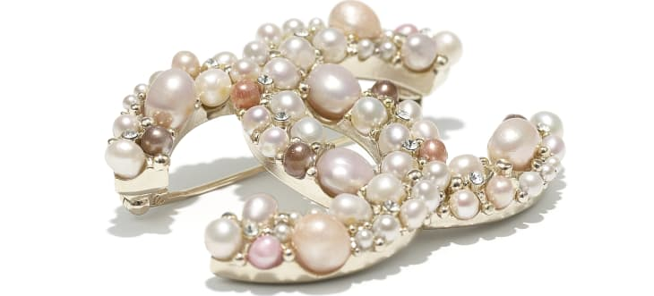 image 2 - Brooch - Metal, Cultured Freshwater Pearls, Glass Pearls & Strass - Gold, Pearly White, Pink & Crystal