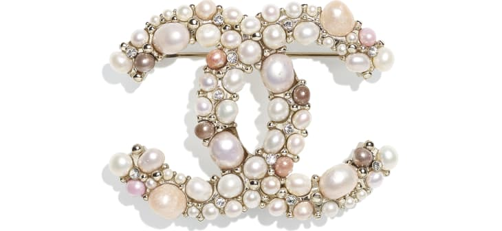 image 1 - Brooch - Metal, Cultured Freshwater Pearls, Glass Pearls & Strass - Gold, Pearly White, Pink & Crystal