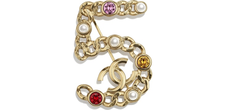 image 1 - Broche - Metal, Pérolas Esmaltadas & Strass - Gold, Pearly White, Red, Pink & Yellow