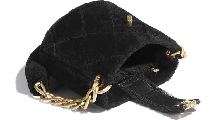 image 3 - Bucket Bag - Shearling Lambskin & Gold-Tone Metal - Black