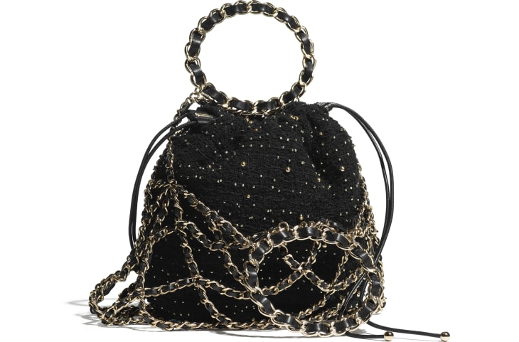 image 2 - Bucket Bag - Tweed & Gold-Tone Metal - Black