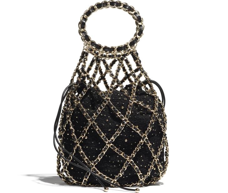 image 1 - Bucket Bag - Tweed & Gold-Tone Metal - Black
