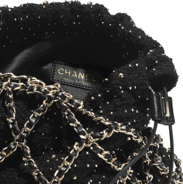 image 3 - Bucket Bag - Tweed & Gold-Tone Metal - Black
